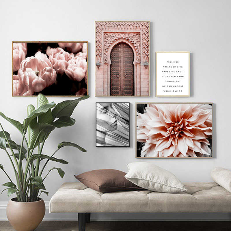 Nordic Decorative Posters Prints Painting Art Canvas Morocco Door Flower Wall Pictures Plant Desert Girl for Living Room Decor