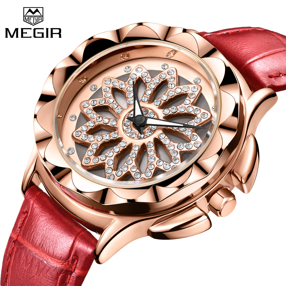 MEGIR Top Luxury Brand Women Fashion Watches Leather Strap Lovers Ladies Quartz Wristwatches Dress Watch Time Relogio Feminino цена