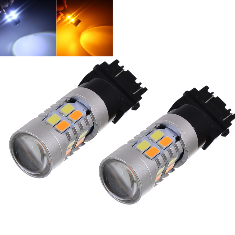 2pcs! Dual Color 3157 60W 5730 Auto Car Light Bulb High Power Yellow White LED Switchback Tail Brake Stop Turn Signal Lamp 1 x t25 3157 50w led car auto signal brake stop tail light bulb signal lamp white external lights