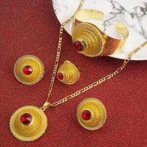 Image 1 - Hot Ethiopian Jewelry Sets Coptic Cross Gold Color Sets Nigeria Eritrea Kenya Habesha Style