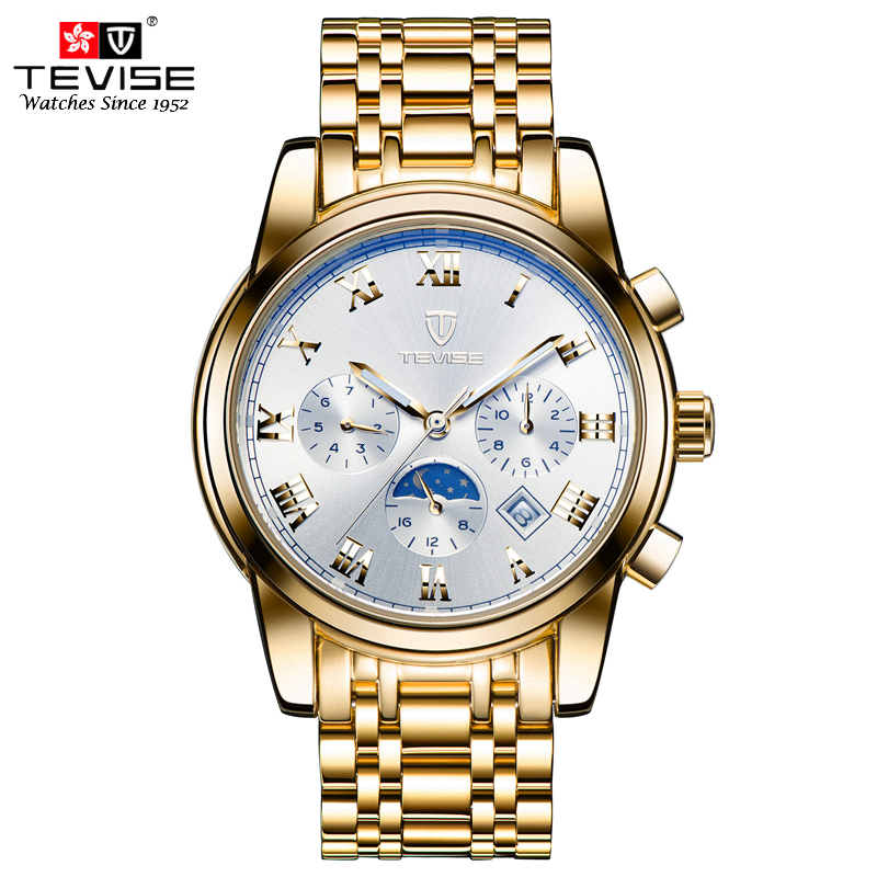 TEVISE Luxury Men Watch Mechanical Automatic Self-Wind Moon Phase Watches Man Complete Calendar Stainless Steel Wristwatch 9005 радиоуправляемая машина для дрифта hpi racing rs4 sport 3 drift subaru brz 4wd rtr масштаб 1 10 2 4g