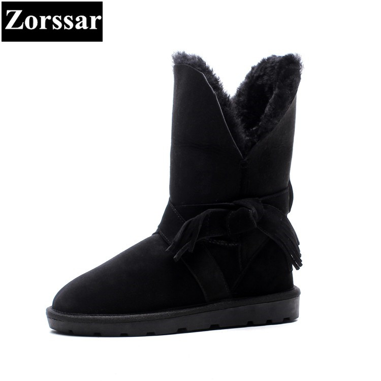 {Zorssar} 2017 NEW winter warm plush Womens Boots cow suede flat heel ankle snow Boots fashion Casual flats women shoes zorssar 2017 new classic winter plush women boots suede ankle snow boots female warm fur women shoes wedges platform boots