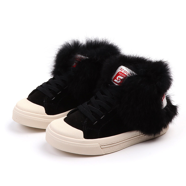 New winter sports shoes for children Korean girls genuine leather casual shoes boys Rabbit's hair shoes and warm cotton shoes Girl's Shoes
