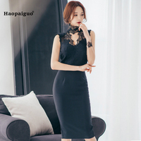 2018 Solid Bodycon Bandage Dress Women Summer Black Sleeveless Knee Length Office Dress For Women Sexy