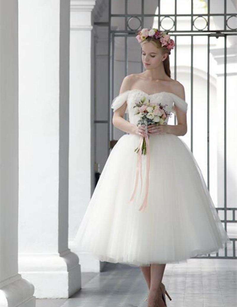 Clic Design 2017 Tea Length Wedding Dress Off Shoulder