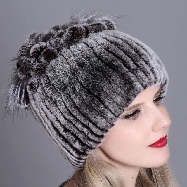 Natural rabbit fox fur Striped Bomber Hats
