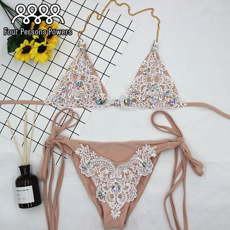 bc2ac007f8 2018 lace bikini Diamond Swimsuit Crystal women swimwear nude bikinis  brazilian rhinestone beachwear push up bikini-in Bikinis Set from Sports ...