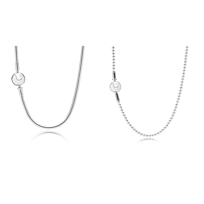 2 стиля Аутентичные бусины из стерлингового серебра 925 ожерелья змея жемчужная цепь для женщин вечерние ювелирные изделия для свадьбы
