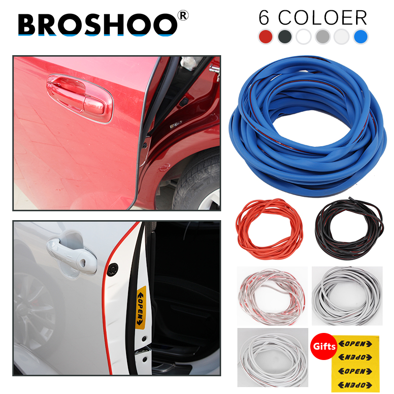 BROSHOO Auto Door Side Protector Scratch Crash Rubber Strips Decals For Cadillac SLS SRX STS Escalade ESV CTS XLR Car Styling