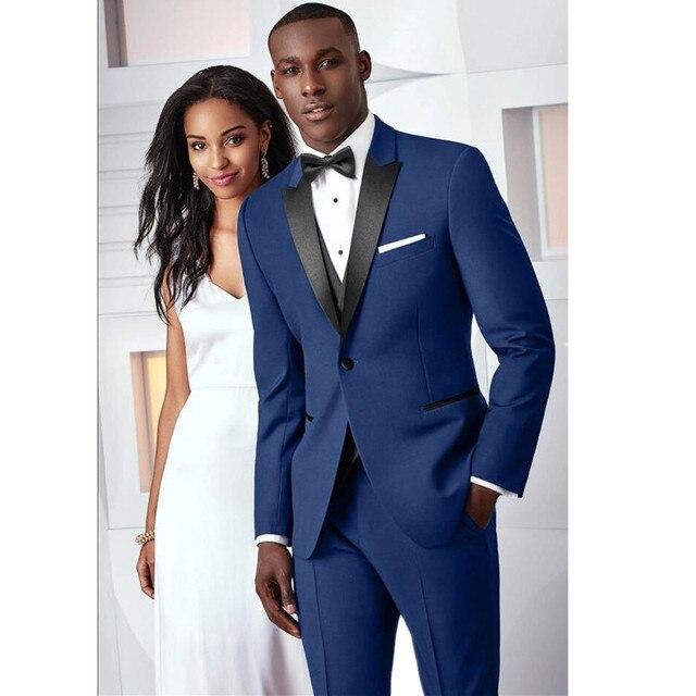 Por encargo Slim Fit boda trajes para hombres novio esmoquin azul real  hombres trajes de novio 4a611b58c9ab