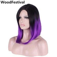 40 см прямой парик волос короткий боб парики для женщин синтетические парики фиолетовый зеленый синий ombre черный серый парик тепла WoodFestival