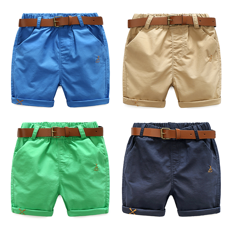 2018 Summer 3-10 Years Cotton Navy Blue Khaki Blue Green Solid Color Children'S Running Sports Boy   Shorts   Kids With Leather Belt