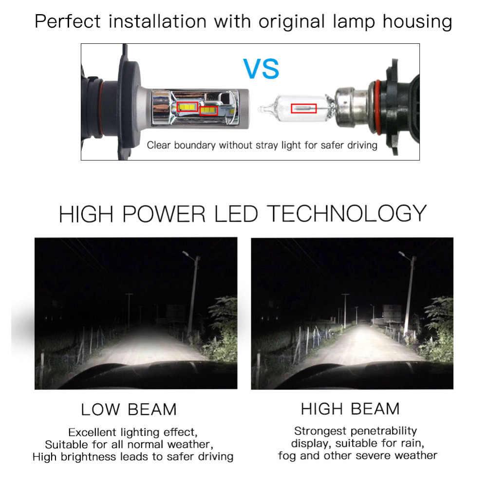 One Pair H11 H8 H9 H4 H1 Led H7 Car Headlight Bulb 50W 8000LM 6500K Auto led car light headlamp Fog Lamp bulbs replacement 12V