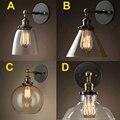 Preço de atacado Do Vintage Sótão Edison Industrial Lâmpadas de Parede Abajur de Vidro Transparente Cobre Antigo Luzes de Parede 110 V 220 V Para quarto