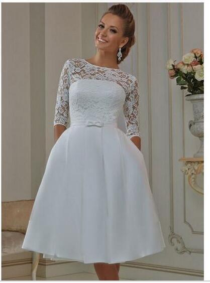2eb05bfc3ac 2016 White Short Wedding Dress Knee Length Ivory Bow Sash A-Line 3 4 Sleeve  Lace Short Vintage Wedding Dress Vestido de noiva