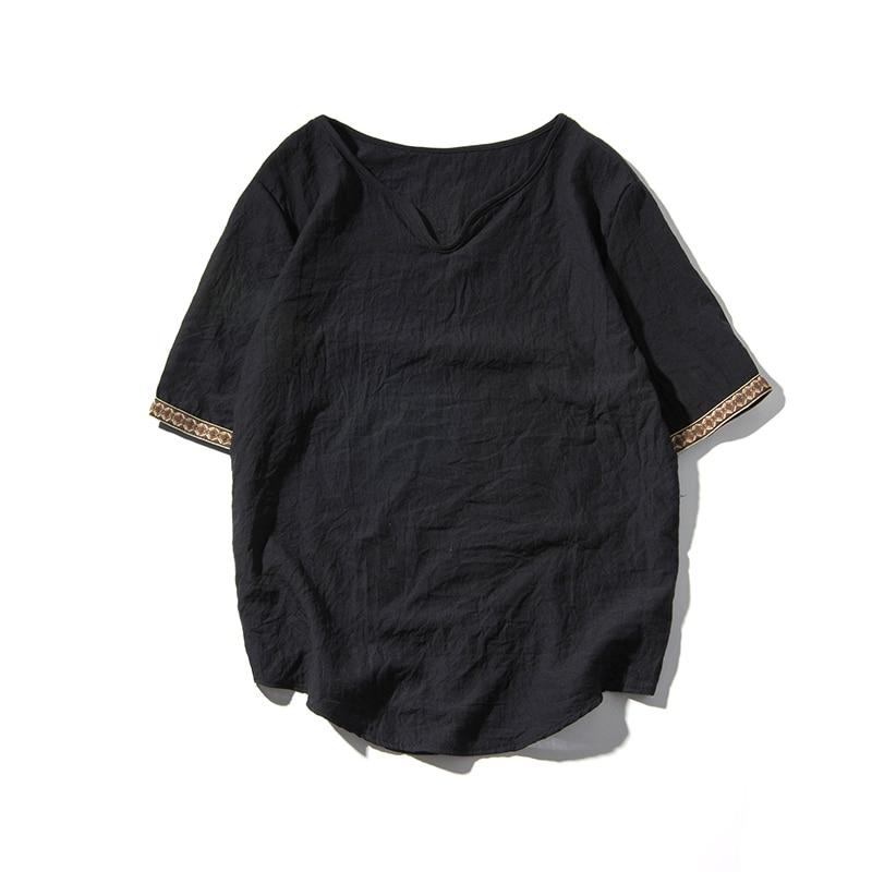Men's Embroidered Trim Linen T-Shirt 5