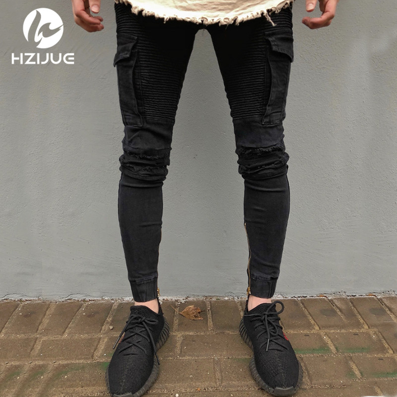 Black Biker Jeans High Stretch Jeans 2