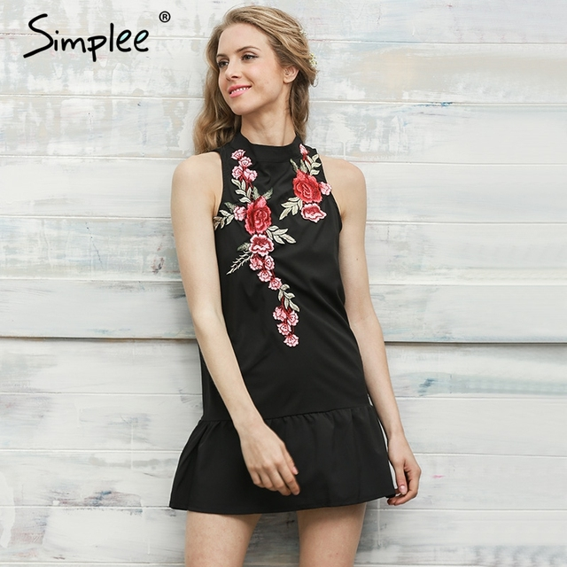 Simplee Flower embroidery women dress Sleeveless halter evening sexy dress Winter new pleated backless party short dresses