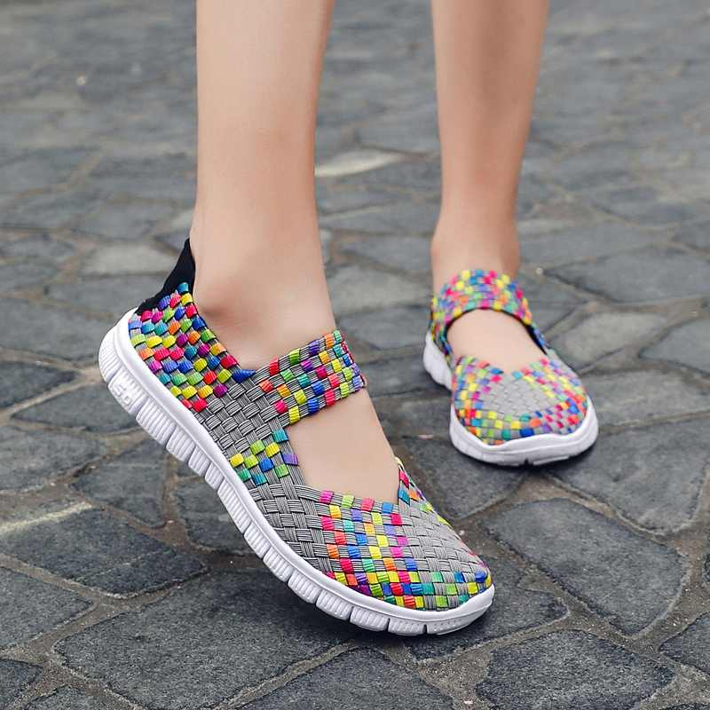 Women Casual Shoes Summer 2019 Breathable Shoes For Women Wide Lightweight Flat Woven Shoes Slip-on Sneakers Lady Walking Shoes