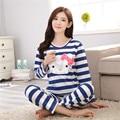 2016 Autumn Pyjamas Women Pijama Unicornio Stitch Blue Kitty Pajamas Sets Femme Homewear Knitted Cotton Sleepwear M~XXL 4 Colors