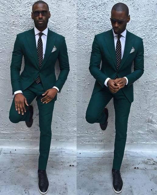 Online Shop Dark Green Slim Men Suits 2017 Handsome Mens Wedding ...