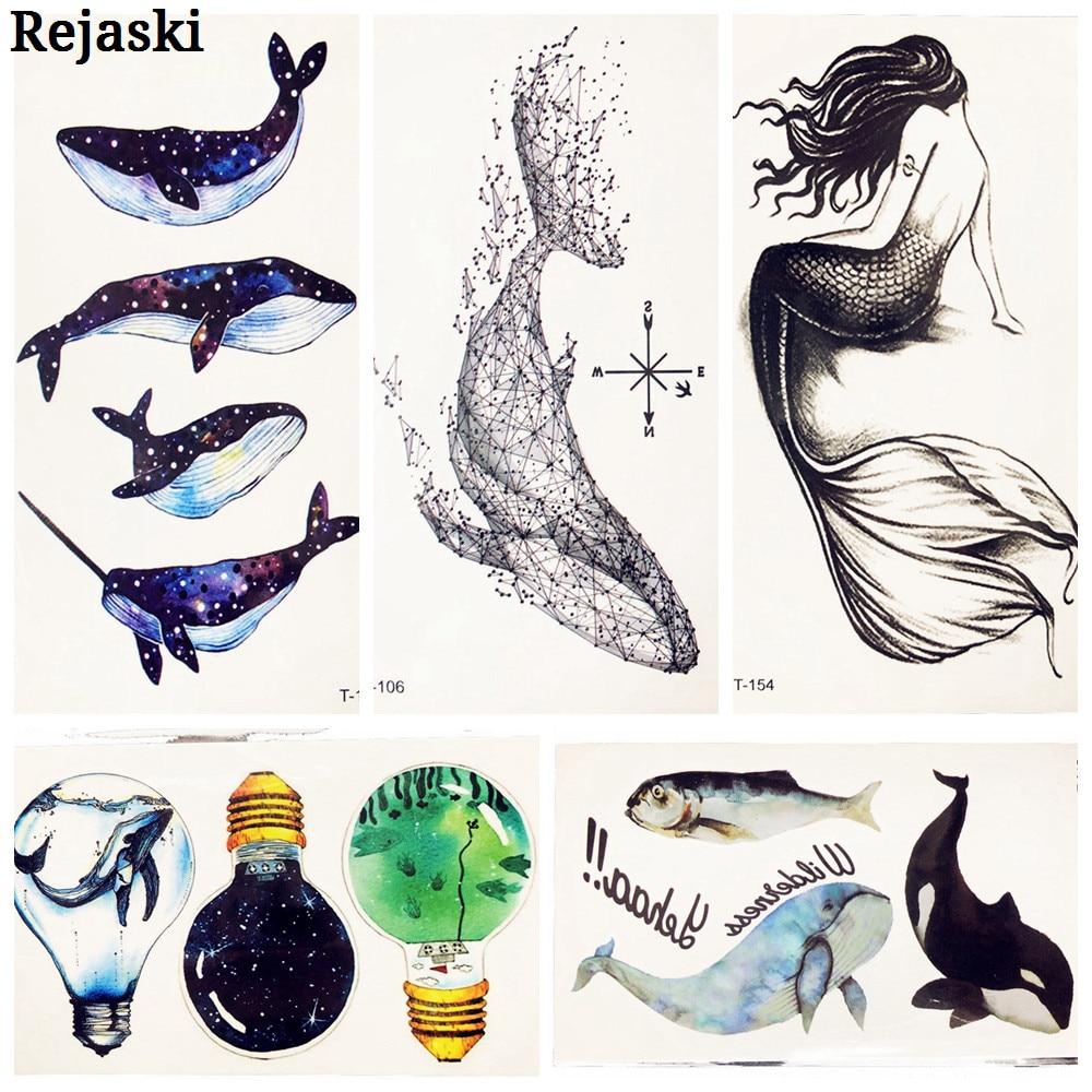 3D Geometry Galaxy Whale Temporary Tattoo For Children Kids Body Neck Finger Art Fake Black Waterproof Tatoo Bulb Mermaid figurine
