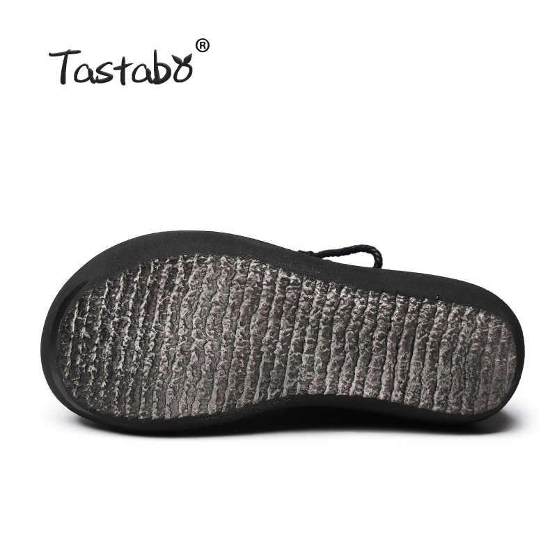 Tastabo 2018 Moda Platformu Çizmeler Kadın El Yapımı Hakiki Deri yarım çizmeler Kadınlar için Yumuşak Martin Ayakkabı Bayanlar