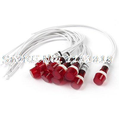 10Pcs AC 220V Neon Indicator Pilot Signal Lamp Red Light w 7.7 Long Cable