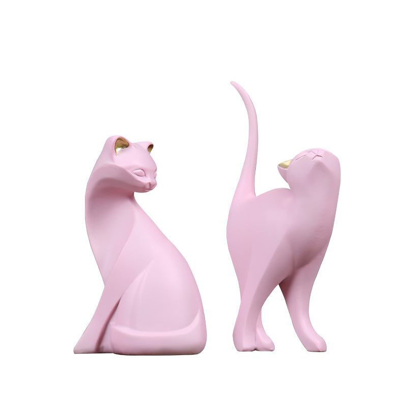 New arrival Resin Pink Cat Home Cabinet Office Decoration Ornament in Figurines Miniatures from Home Garden
