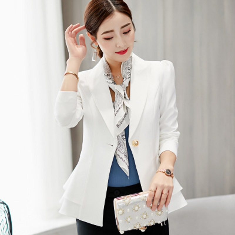 Spring Autumn New Women Blazer Jacket 2019  Fashion Slim Females Solid Single Button Long  Small Suit Ruched Coats