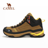 CAMEL New Outdoor Leather Hiking Shoes For Men Shock Absorption Antiskid Breathable Mountain Climbing Sports Trekking Boots