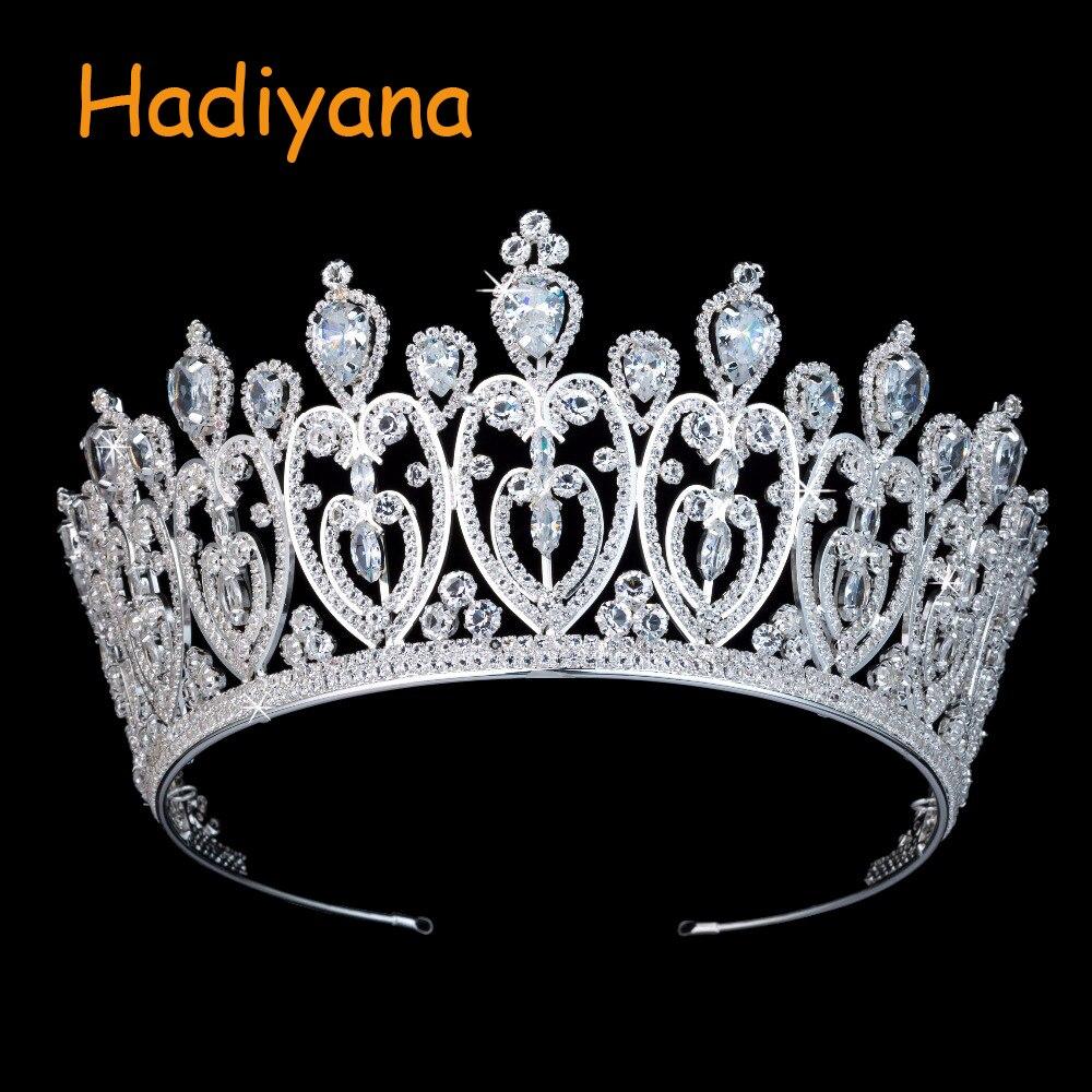 Hadiyana De Luxe Mousseux CZ Coeur En Cristal Couronne De Mariée Ornements De Cheveux Pour Femmes Nouveau Diadèmes De Grands Cheveux De Mariage Accessoires BC3676