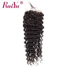 "RUIYU Hair Brazilian Deep Wave Closure With Baby Hair 4""X4"" Human Hair Lace Closure Bleached Knots Non Remy Hair Free Part"