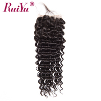 RUIYU Hair Brazilian Deep Wave Closure With Baby Hair 4 X4 Curly Human Hair Lace Closure