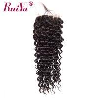 RUIYU Hair Brazilian Deep Wave Closure With Baby Hair 4 X4 Curly Human Hair Lace Closure