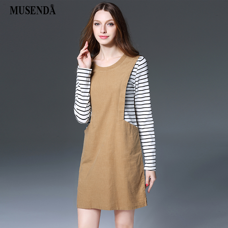 MUSENDA Plus Size Women Light <font><b>Tan</b></font> Striped Patchwork Short Straight <font><b>Dress</b></font> Spring Female Lady Corduroy <font><b>Dresses</b></font> Vestido Clothing