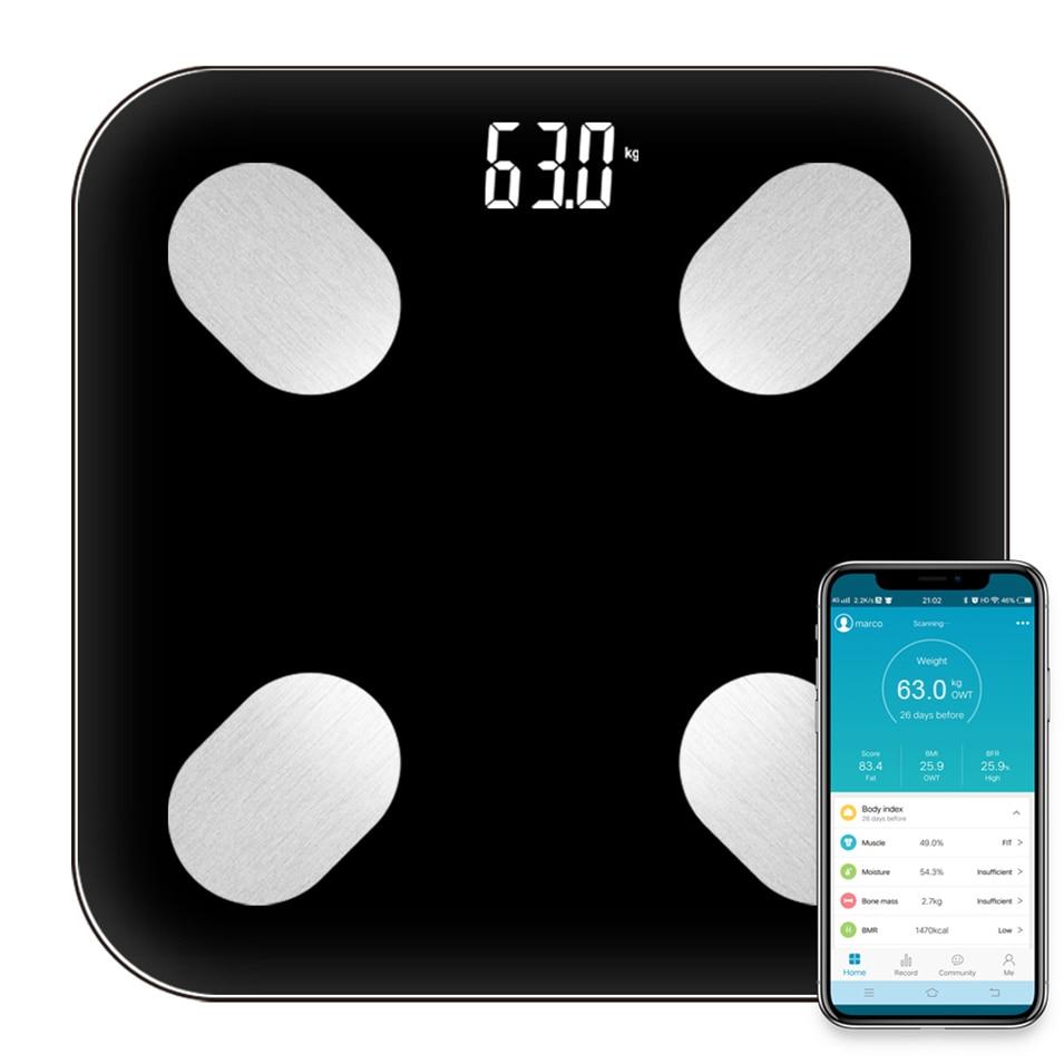 Vente Salle De Bains Smart scale Échelles Ménage Prime Soutien Bluetooth APP Graisse Pourcentage Numérique de Graisse Corporelle Balance P gason