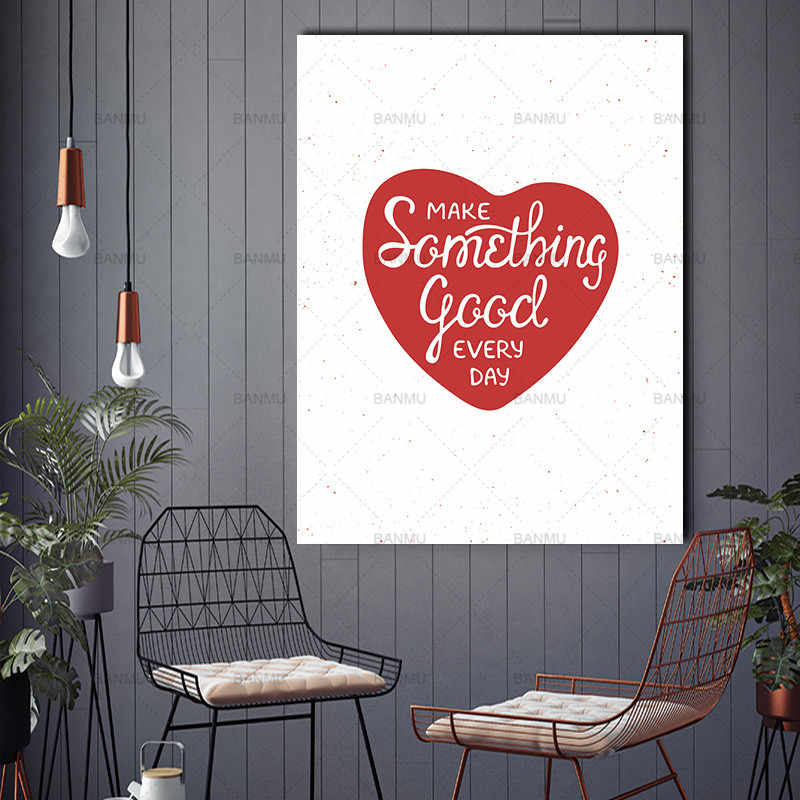 Canvas Painting wall art Pictures Nordic Abstract letter Heart Something Good Wall Pictures Living Room Decoration Scandinavian