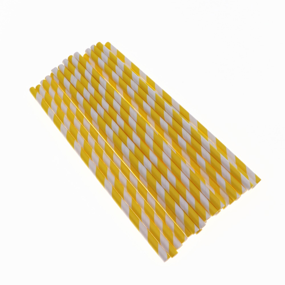 Colorful Yellow Paper Straw 25pcs/lot Straw Wedding Ramadan Happy Birthday Decoration Supplies For Baby Shower Kids