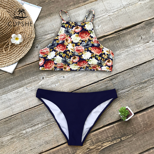 875ce93579 CUPSHE Floral And Navy Braided Strap Tank Bikini Sets Women High-neck Two  Pieces Swimsuits 2019 Girl Beach Boho Bathing Suits