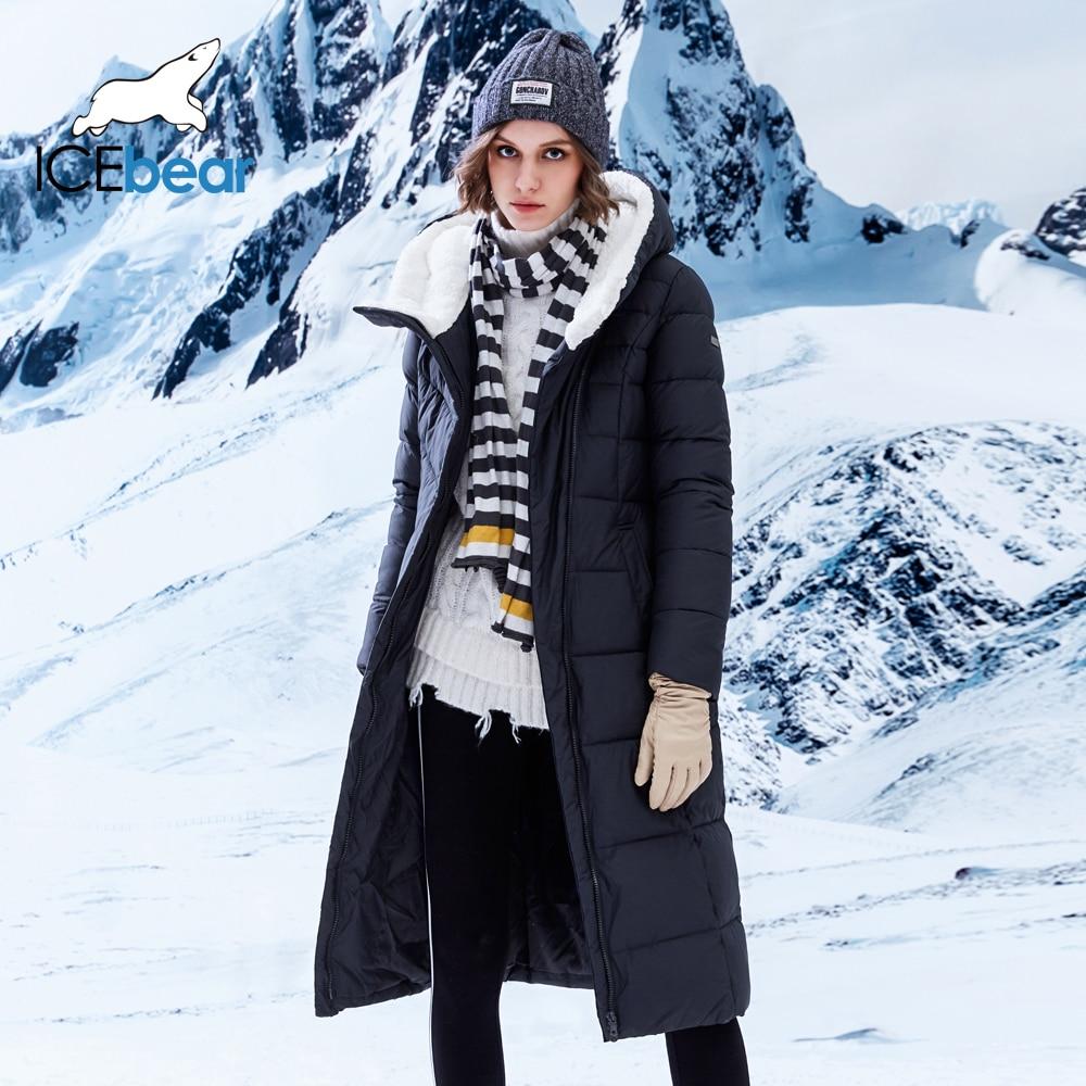 Icebear Новинка 2018 года Зимняя коллекция Теплые Длинные парки теплая Женская парка куртка с поясом 17G661-1D