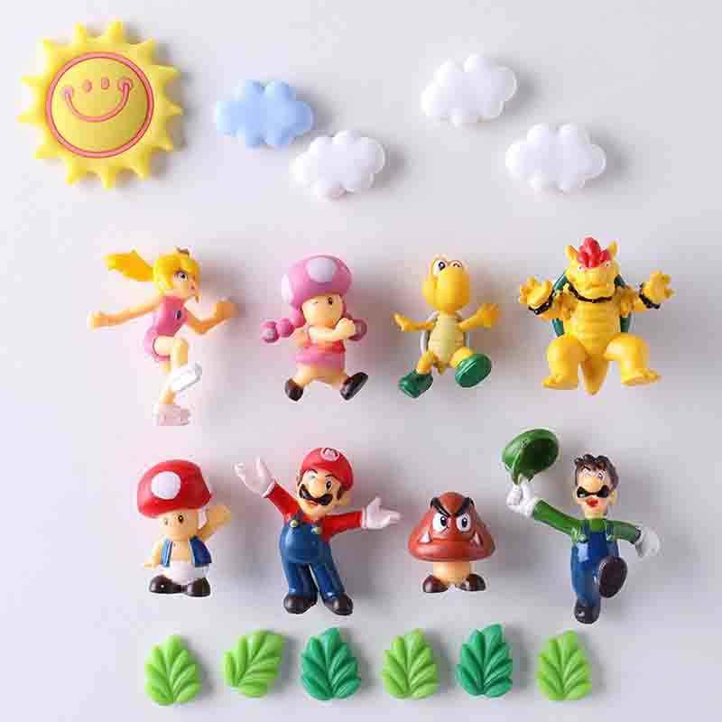 8/12/17/19/22/64 adet 3D süper Mario Bros Buzdolabı mıknatısları buzdolabı mesaj Sticker ev dekor çocuk oyuncakları doğum günü hediyesi