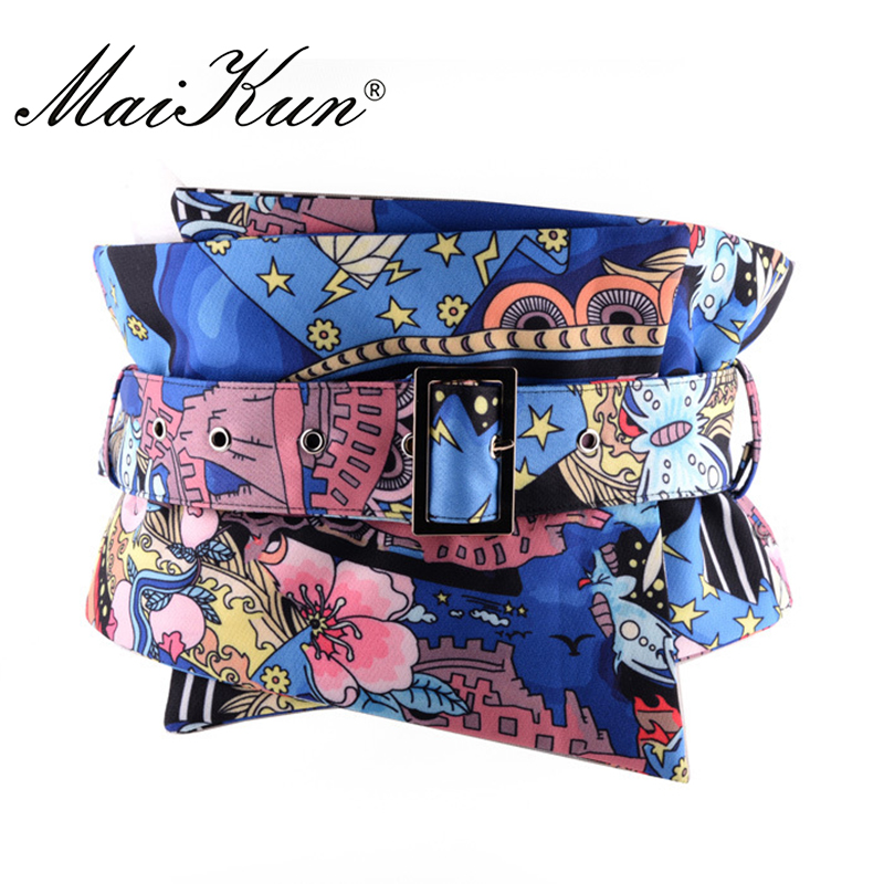 Luxury Flower Pattern Wide Belts for Women Dress Belts Wrap Around Fabric Waistband for Jeans Golden Buckle Clothing Accessory