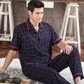 2016 NUEVOS Pijamas de Algodón Establecido Para Los Hombres Pantalones ropa de Dormir Pijamas de Manga Corta Pijama Conjunto de Salón de Los Hombres Más El tamaño M-5XL