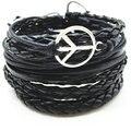 5pcs/Set Fashion Vintage Punk Black Weave Wrap Tree Anchor Music Peace Charm Leather Bracelet For Women Female Male Men Jewelry