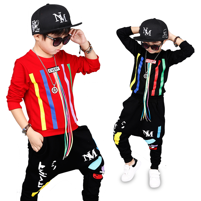 2 Bibihou new spring autumn kids clothes sets children 2 pcs Hip hop suit Shirt coat + Harem pants baby boys sport suits Color bar