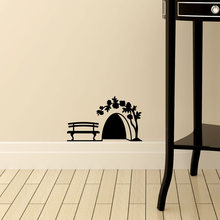 Small Mouse hole Wall Sticker door cupboard Home Decor Art kids room decoration Creative PVC Carved stickers on the wall(China)