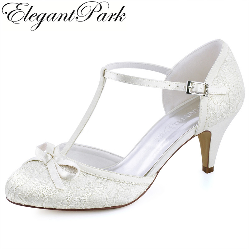 Women Shoes White Ivory Cone High Heel Close Toe Bows T-Strap Lace Bride Bridesmaid Lady Party Prom Bridal Wedding Pumps HC1721