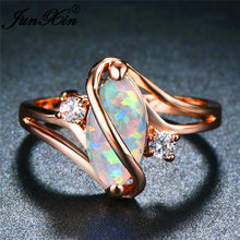JUNXIN Unique S Shaped Blue/White Fire Opal Stone Rings For Women Rose Gold Horse Eye Rainbow Birthstone Ring Wedding Jewelry(China)