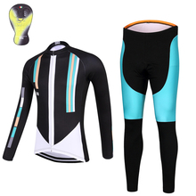 2017 QKI 100 style Women Cycling clothing Thermal fleece Long Sleeves Cycling Jersey and Cycling Long Pants a Set Maillot+Culote